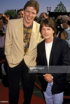 Tom Wilson and Michael J. Fox during Grand Opening Of Universal Studios New Theme Park Attraction - June 1990 at Universal Studios in Orlando, Florida, United States. Marty Mcfly, Michael Fox, Doc Brown, Image Film, Bttf, Movie Facts, About Time Movie, Film Serie, Back To The Future
