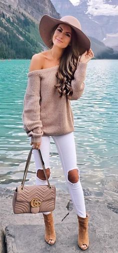 #fall #outfits women's brown off-shoulder long-sleeve shirt and white denim jeans
