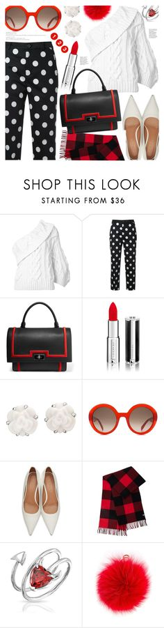 """""""Black & White & Red"""" by stacey-lynne ❤ liked on Polyvore featuring Rosie Assoulin, Guild Prime, Givenchy, Chanel, Alexander McQueen, Marni, Mackage, Bling Jewelry and Furla"""
