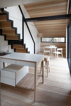 Image 7 of 10 from gallery of ESCLISE Mobile Design Home / Arhitektu Birojs Arhiidea. Courtesy of Arhitektu Birojs Arhiidea Mini Loft, Contemporary Interior, Modern Interior Design, Architecture Design, Freestanding Kitchen, House Stairs, Staircase Design, Minimalist Interior, Mobile Design
