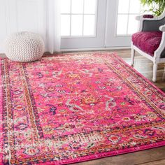 nuLOOM Traditional Vintage Floral Distressed Pink Rug (7'10 x 11') | Overstock.com Shopping - The Best Deals on 7x9 - 10x14 Rugs