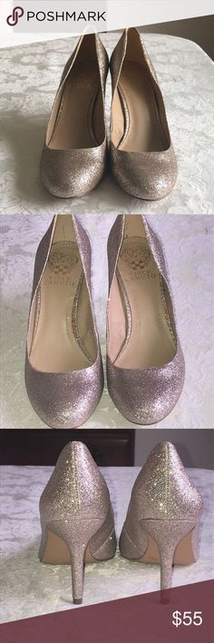 Vince Camuto Sparkly Heels Size 7.5 never worn Vince Camuto heels. Sparkly, pics are with and without flash. These are great for going out I just always work on New Years and want someone to wear these, bc they've just been sitting in my closet. There's a small stain inside one shoe see pics. But perfect condition aside from that. Make an offer! Vince Camuto Shoes Heels