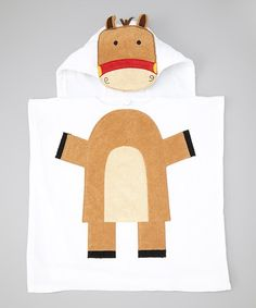 Look at this Tan Horse Hooded Bath Poncho on #zulily today!