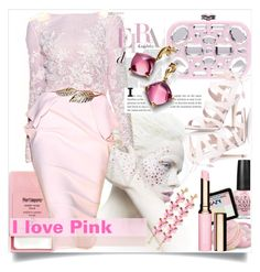 """""""#pink"""" by sweta-gupta ❤ liked on Polyvore featuring Pier 1 Imports, OPI, Charbonnel et Walker, Zuhair Murad, NYX, Miu Miu, J.Crew, Baccarat, Miss KG and Clarins"""