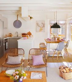 bright, decorated space