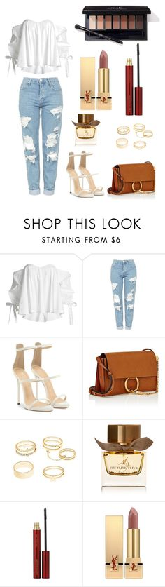"""Untitled #8"" by merve-hotkid on Polyvore featuring Caroline Constas, Topshop, Giuseppe Zanotti, Chloé, Charlotte Russe, Burberry, Kevyn Aucoin and Yves Saint Laurent"