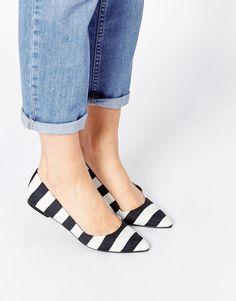 ASOS Stripe Pointed Ballet Flats