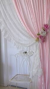 Shabby Chic Curtains – love everything about this - Home Decor Design Drop Cloth Curtains, Beaded Curtains, Diy Curtains, Curtains With Blinds, Purple Curtains, Blackout Curtains, Shabby Chic Curtains, Shabby Chic Bedrooms, Guest Bedrooms