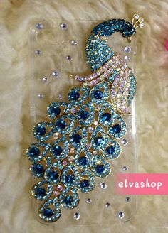 iphone 6 case iphone6 plus case Bling peacock iphone by elvashop