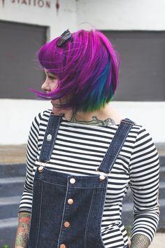 Purple. Blue. and Green Hair