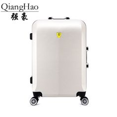 QiangHao ! 20 24  inch Aluminum frame abs and pc Case 4 wheels trolley Solid travel luggage or suitcase