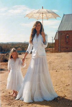 long skirt and parasol