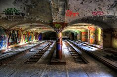 Abandoned subway terminal ~the colorful graffiti & natural light make this an inviting place to explore