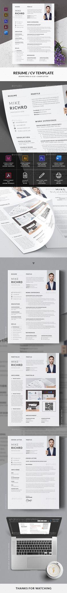 Resume / CV Template Cv Template, Resume Templates, Cv Design, Change Image, Resume Cv, Microsoft Word, Very Well, Photoshop, Words