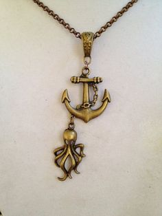 Anchor  and Octopus Necklace by joytoyou41 on Etsy, $28.00