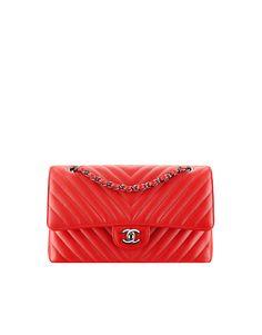 Classic handbag, grained calfskin & silver-tone metal-red - CHANEL