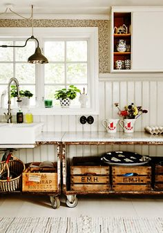 Check Out 27 Vintage Wooden Kitchen Island Design Ideas. Vintage is a very popular style in interiors, and a vintage kitchen looks very stylish. Farmhouse Kitchen Cabinets, Wooden Kitchen, Vintage Kitchen, Kitchen Decor, Rustic Kitchen, Swedish Kitchen, Scandinavian Kitchen, Kitchen Ideas, Kitchen Sink