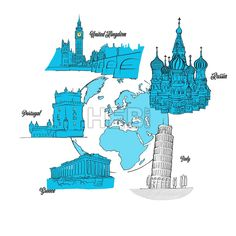 Europe Travel Landmarks on Globe. hand drawn outline illustration for print design and travel marketing... ... #vector #travel #sign #sketch #poster #icon #marketing #illustration #art #hebstreit
