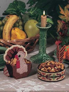 Thanksgiving Nut Cups  originally published in Happy Holidays in Plastic Canvas