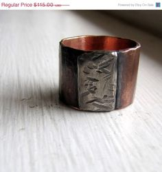 30 PERCENT OFF Mens ring of rustic copper and sterling by tinahdee