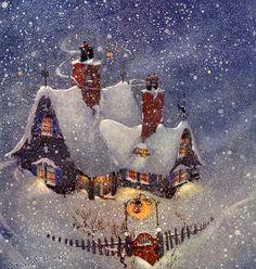 Заснеженный домик,фонарь на ветру, снегопад - анимационные картинки и gif открытки