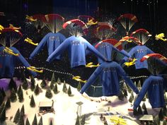 SELFRIDGES CHRISTMAS WINDOWS: This year themed under the heading 'Destination Christmas', the windows feature a selection of oversized Christmas gifts in a snowy landscape complete with little penguins and skiers! #London #Selfridges #christmas #shopping #Kenzo #fashion
