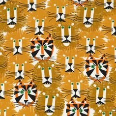 Lions+and+Tigers+Fabric+Happy+Drawing+by+Ed+by+augieandlolafabric,+$12.50