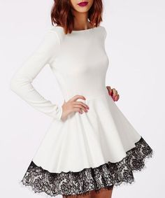 Stylish Off-The-Shoulder Long Sleeve Color Block Lace Hem Women's Fit and Flare Dress Club Dresses   RoseGal.com Mobile