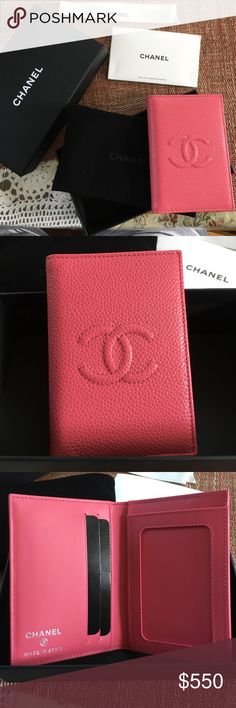 Chanel Card Holder in Caviar Leather Rare, never used. Authentic Chanel card holder perfect for credit and business cards. Pink caviar leather. Comes with Chanel box, ribbon, care card, Chanel pouch, and authentication card. No trades. Only serious buyers. Price is firm. CHANEL Bags Wallets