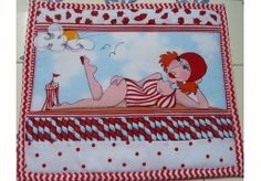 Mug rug *beach gal by loralie* red swim suit * hot mat, potholder quilted fabric