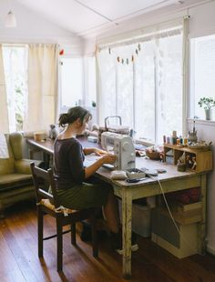 """A rare photo of me... making stuff in my sewing room. This is where I spend most of my days. My favourite room in this old house."" - Margeaux from Willowynn."