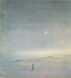 """amare-habeo:  """"  Rabindranath Tagore (Indian, 1861-1941)  Moon Above the Sea, N/D  """""""