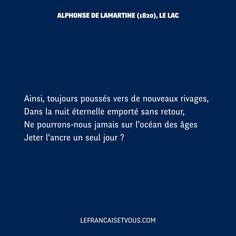 Le Lac est un des plus célèbres poèmes de Lamartine, dans les Méditations poétiques parues en 1820. https://fr.wikisource.org/wiki/M%C3%A9ditations_po%C3%A9tiques/%C3%89dition_de_1860/Le_Lac