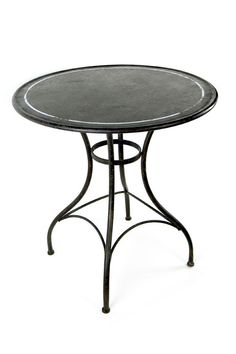 Vagabond Vintage Furnishings - Metal Bistro Table in Rustic Black and White Paint - M-BISTRO-BLK, $98.00 (http://www.vagabondvintage.com/metal-bistro-table-in-rustic-black-and-white-paint-m-bistro-blk/)