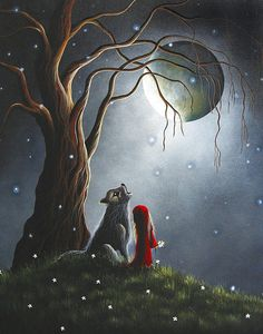 Little Red Riding Hood NIGHT WITH THE LONE WOLF by Shawna Erback Fine Art Prints (cards)
