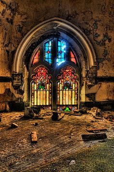 St. Curvy's Abandoned Church in HDR - Detroit, Michigan, United States. #Abandoned #photography #abandonedplaces #abandon #decay