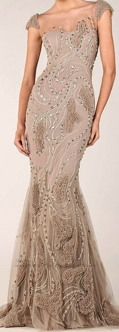 Oh my taupe-y goodness!  Beautiful gown with amazing and gorgeous detailing!!! ~ TONY WARD 2014
