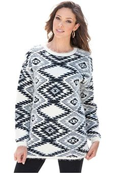 Bargain Catalog Outlet Roamans Plus Size Diamond Eyelash Sweater