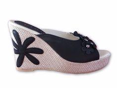 New Women& Platform High Heel Wedge Slip On Mules Sandals Black, Beige Mule Sandals, Strappy Sandals, Black Sandals, Slip On Mules, Platform High Heels, Black High Heels, Coach Shoes, Shoes Heels, Wedges