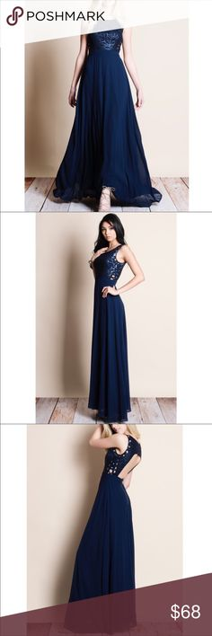 9e4dbb7c7c Navy Blue Lace Up Side Open Back Maxi Dress Brand new stunning navy blue  maxi dress. It has an open back and laces up the sides. The bodice is  fitted with a ...