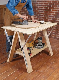 A basic, stable workbench is a must for every shop. Building this bench won't break the bank, either. Portable Workbench, Workbench Plans, Woodworking Workbench, Woodworking Projects, Learn Woodworking, Build Your Own Garage, Plywood Projects, Assembly Table, Homemade Tools