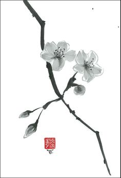 Original Art Two flowers  in Japanese style  sumi-e by ZenPresent