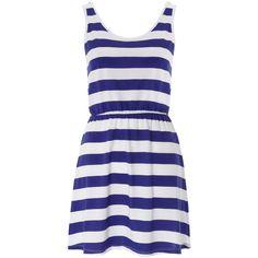 ❤Blue & White Jersey Stripe Dress ❤ liked on Polyvore