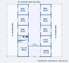 6 Stall Horse Barn Plans- dream barn!