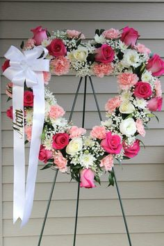 Sympathy pink open heart arrangement