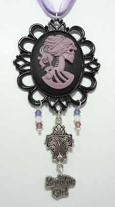Gothic Lolita Necklace with Czech Crystals, with Zombie Girl and Fleur de Lis Charms - Strung On Triple Strand Purple Organza Ribbon