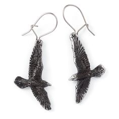 Pewter Raven Earrings - Women's Clothing & Symbolic Jewelry – Sexy, Fantasy, Romantic Fashions
