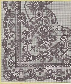 Kira scheme crochet: Scheme crochet no. Tapestry Crochet, Crochet Motif, Crochet Doilies, Crochet Stitches, Crochet Patterns, Crochet Flower, Cross Stitch Pillow, Cross Stitch Borders, Filet Crochet Charts