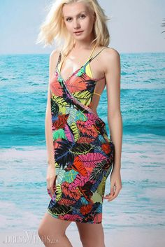 Cover-up, Swimwear , $30.99, Colorized Leaves Cross Front Beach Cover-up