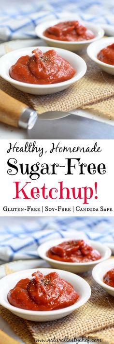 Healthy Homemade Ketchup that's sugar free, gluten-free and soy-free. Fits a Candida Diet! Gluten Free Snacks, Gluten Free Breakfasts, Gluten Free Diet, Dairy Free, Anti Candida Diet, Candida Diet Recipes, Healthy Food Swaps, Healthy Eating, Sugar Free Ketchup Recipe